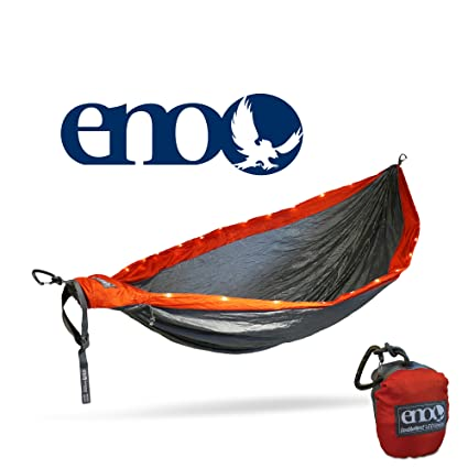 Eagles Nest Outfitters ENO DoubleNest LED Hammock, Orange/Grey