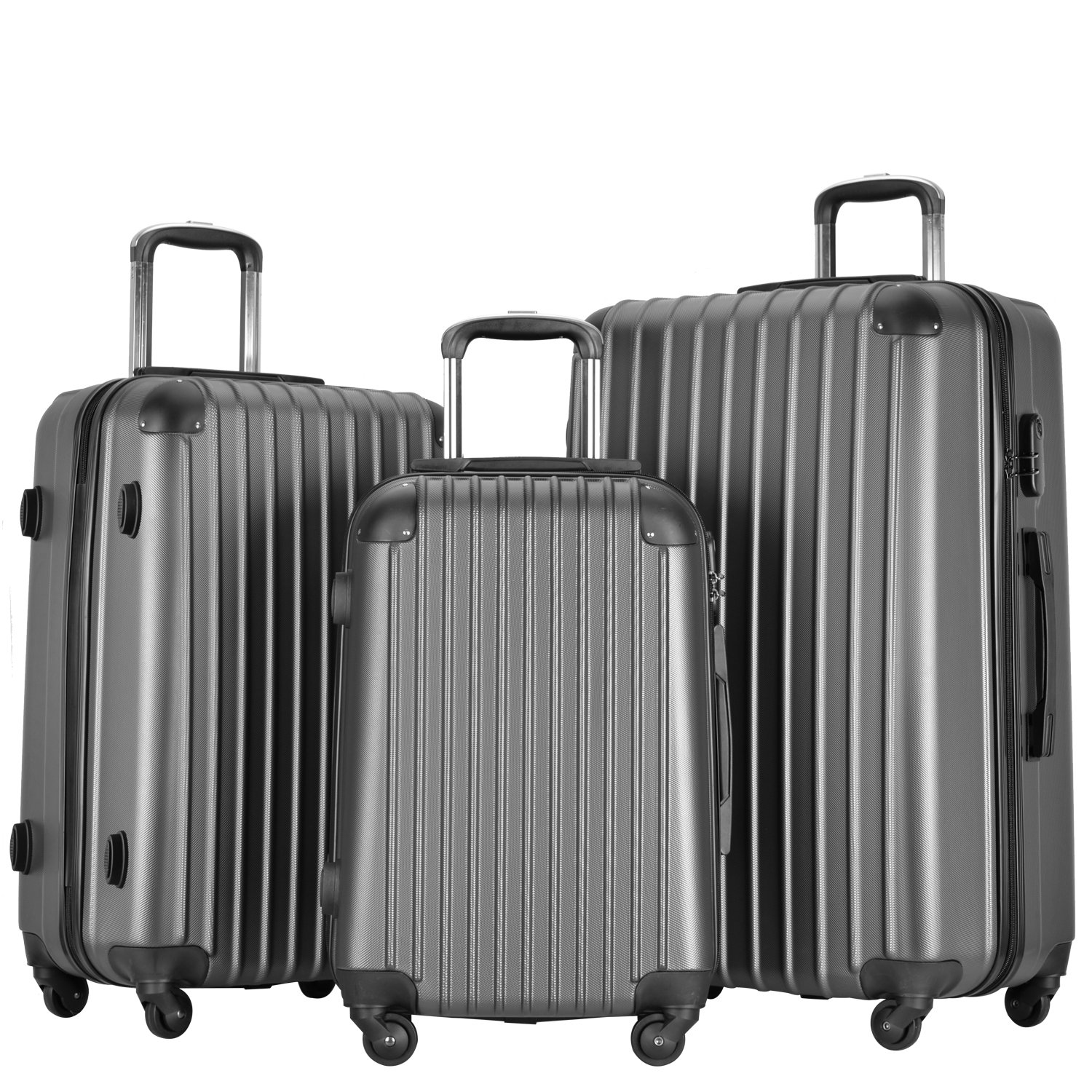 Resena Luggage 3 Piece Set Suitcase Spinner Hardshell Lightweight (Grey) by Resena