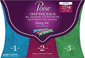 Poise Impressa Incontinence Bladder Supports Sizing Kit, Sizes 1,2,3 (6 count)