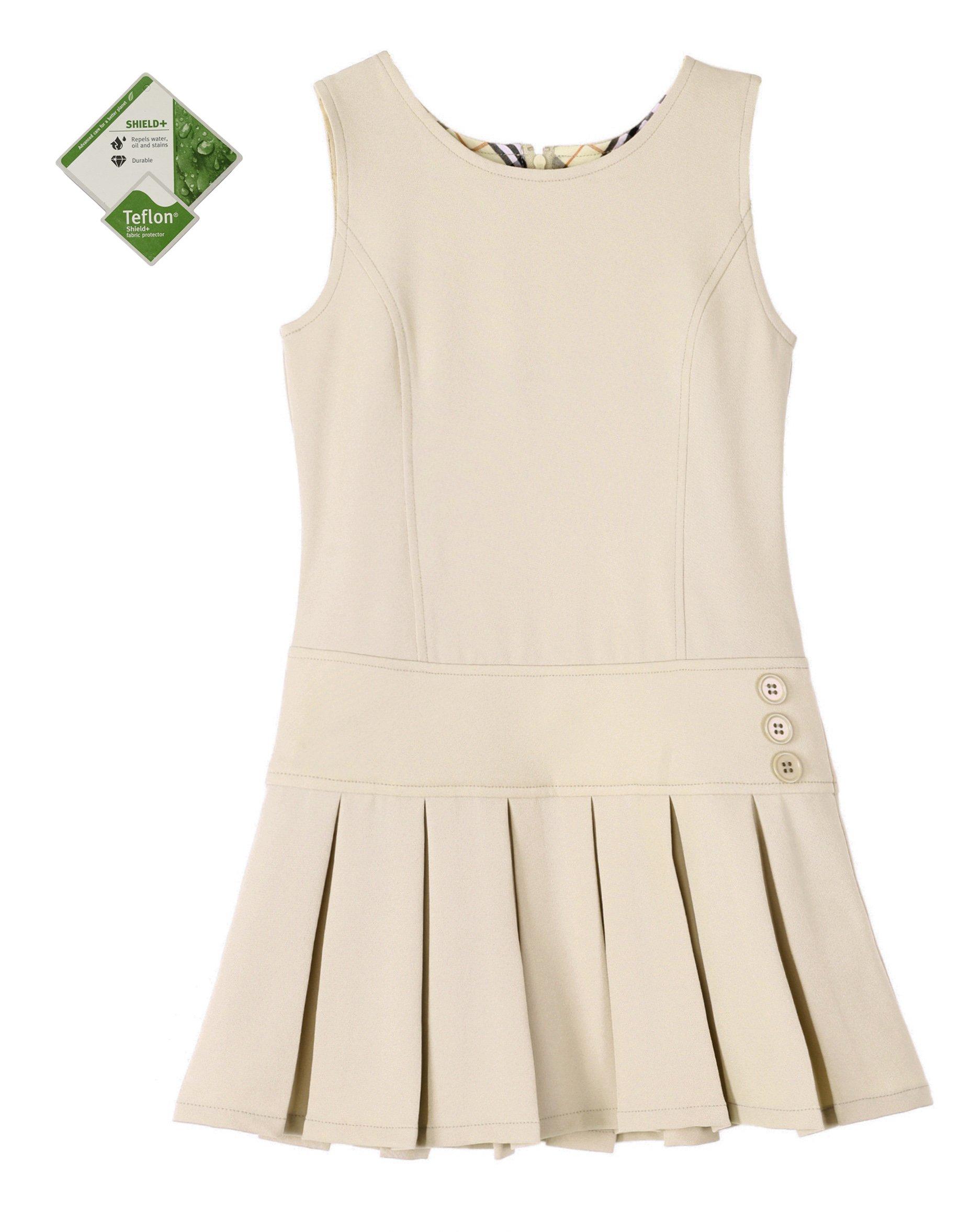 Bienzoe Girl's Stretchy Pleated Durable School Uniforms Jumper Khaki 6