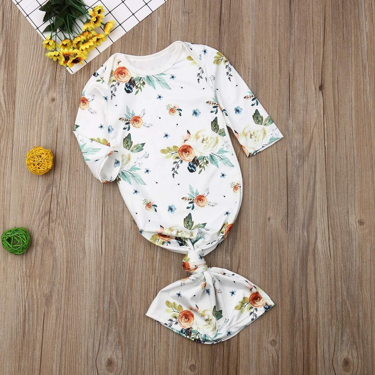 FAROOT Newborn Baby Boy Girls Swaddle Wrap Blanket Nightgown Gown Set Take Home Outfit Sleeping Bag Romper+Headband