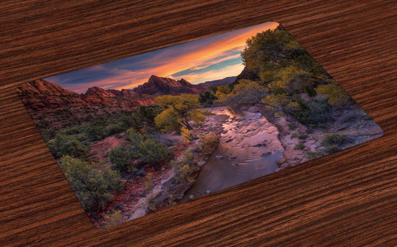 Colchonetas del Parque Nacional Zion, paisajes pintorescos de la montaña Watchman y el río Virgin al atardecer, manteles individuales de tela lavables para el comedor Decoración de la mesa de la cocin:
