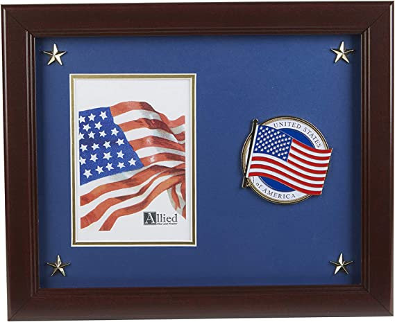 Allied Frame Us American Flag Patriotic Picture Frame With Medallion And Stars 5 X 7 Inch Amazon Com
