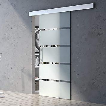 Sogood porte coulissante 77,5cm x 215cm pour lint/érieure verre ESG porte glissante avec amortisseur poignee barre design Amalfi TS13H-775 MSLG