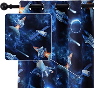 Anjee Kids Room Curtain for Boys Bedroom 63 Inches Blackout Curtain Outer Space Room Darkening Window Curtain Thermal Insulated Drapes Panels Nursery Home Decor Gifts, Dark Blue 52x63 Inches