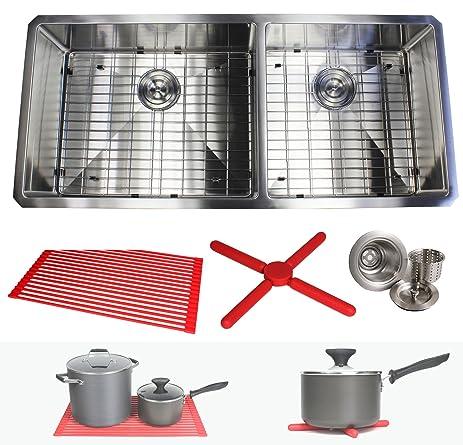 premium 42 inch stainless steel super sized kitchen sink package by ariel   16 gauge undermount premium 42 inch stainless steel super sized kitchen sink package      rh   amazon com
