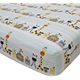 Lambs & Ivy Peek A Boo Jungle Fitted Sheet, Striped Animal Print