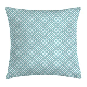 """Ambesonne Aqua Throw Pillow Cushion Cover, Ocean Themed Pattern Swirled Waves Seascape in Oviform Maritime Surfing Design, Decorative Square Accent Pillow Case, 20"""" X 20"""", Pale Turquoise"""