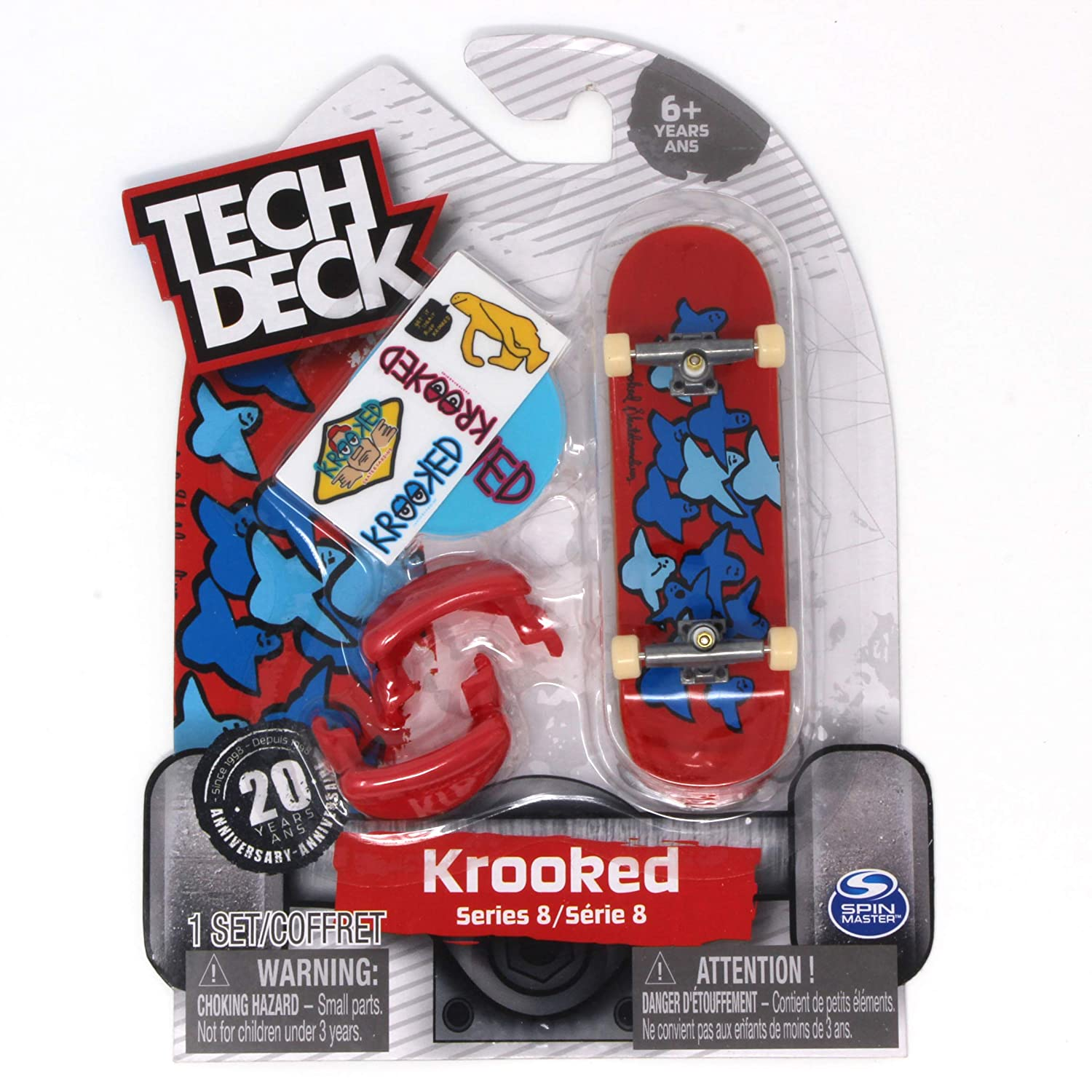 Tech Deck Series 8 Krooked Skateboards Birds Slick II Red Blue Rare Fingerboard with Trainer Clips