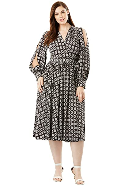 Roamans Women\'s Plus Size Long Sleeve Wrap Dress with Balloon Sleeves
