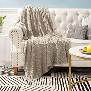Bedsure 100% Acrylic Knit Throw Blanket, 50×60 Inch - Soft Warm Cozy Lightweight Decorative Blanket with Tassels for Couch, Bed, Sofa, Travel - Beige Tan Taupe Camel Throw Blanket