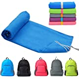AGOOL Microfiber Travel Sports Beach Towel Fast Drying Lightweight Absorbent Soft Ultra Compact Suitable for Camping, Gym, Yoga, Swimming, Backpacking, Fitness