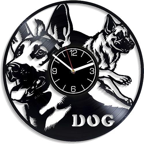 Kovides Birthday Gift for Man Dog Wall Art German Shepherd Vinyl Record Wall Clock Dog Wall Clock German Shepherd Home Decoration Dog Wall Clock Modern German Shepherd Art Dog Vinyl Clock