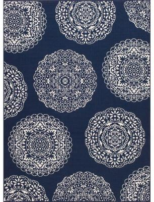 Hampton Bay Navy Medallions 5 ft. 3 in. x 7 ft. 4 in. Indoor/Outdoor Area Rug-3198.42.55 - The Home Depot