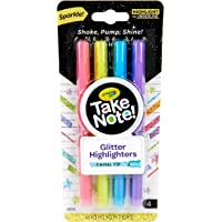 CRAYOLA Glitter Highlighter Take Note! Glitter Highlighter Markers, 4 Sparkly Colours, Chisel Tips, Thick or Thin Lines…