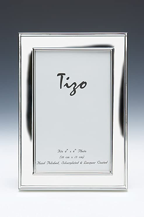 Amazon Com Tizo 4 X 6 Silver Plated Picture Frame With Double Ridge Border