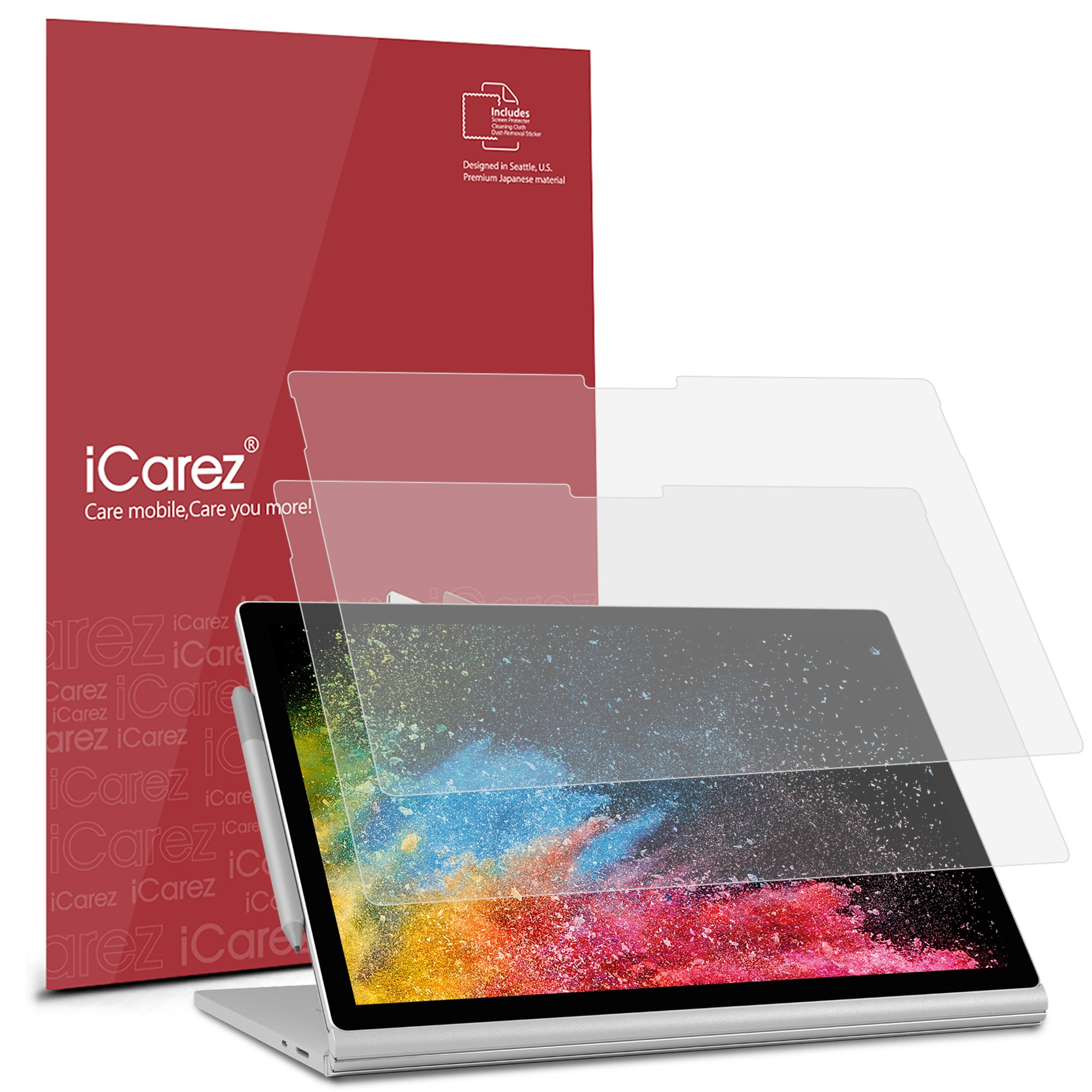 iCarez Matte Screen Protector for Surface Book 2 (2017) 13.5-Inches, 2-Pack Anti-glare