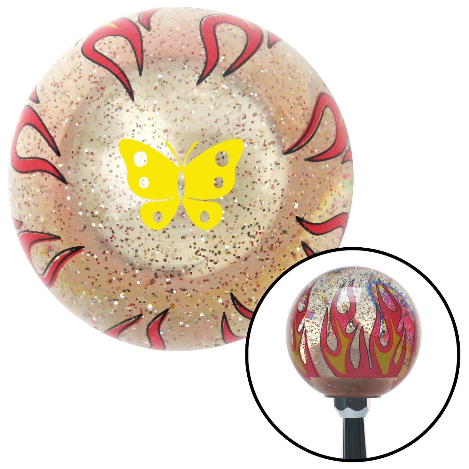 Yellow Classic Butterfly Clear Flame Metal Flake with M16 x 1.5 Insert American Shifter 295152 Shift Knob