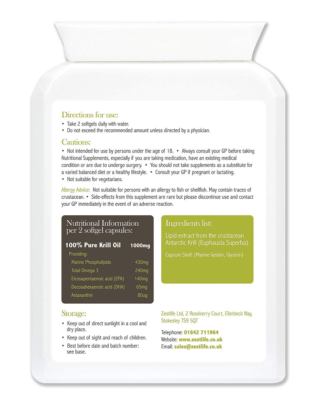Zestlife SUPERBA KRILL 500mg 60 - Fácil de tragar las cápsulas de gelatina blanda | Sostenible pescadas por Aker BioMarine