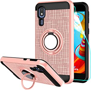 Compatible for Galaxy A2 Core Phone Case,LDStars[HD Screen Protector] TPU & PC Heavy Duty Shockproof Protective Cover with Rotatable Ring Stand-Rose Gold