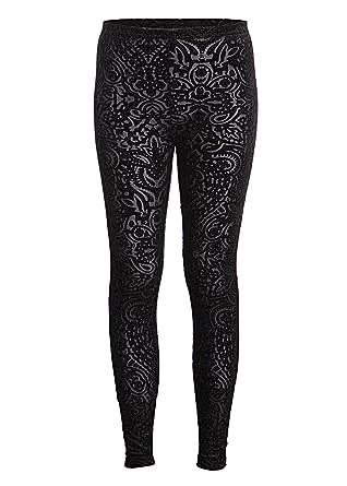 Beautiful Black Velvet Lace Look Leggings at Amazon Women's ...