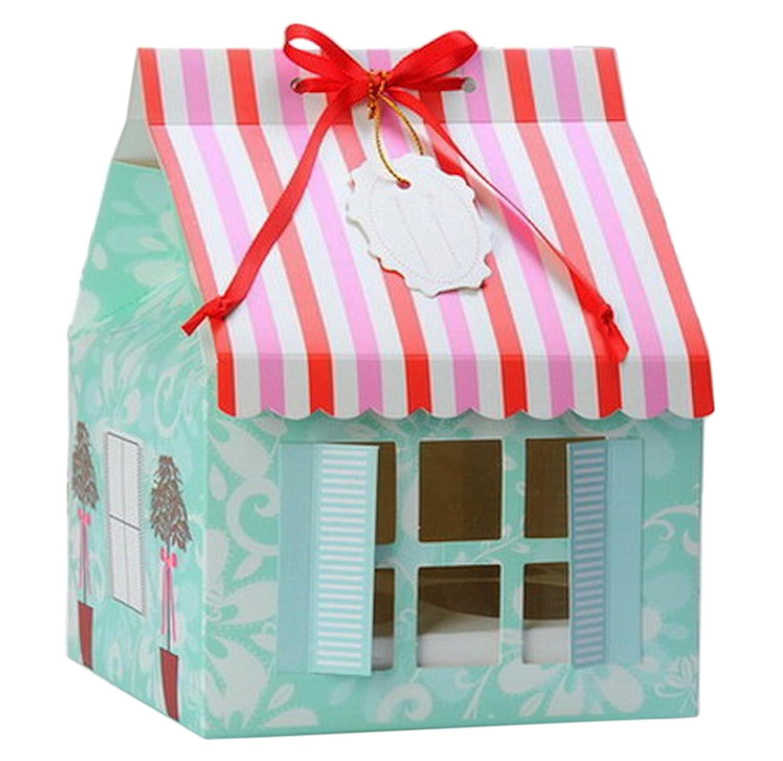 10 cajas para pasteles con diseño de casa, para 4 magdalenas Ibex Retail