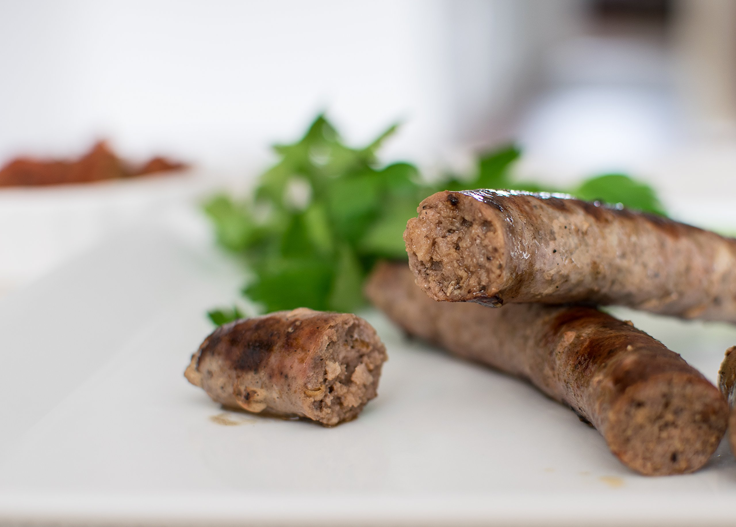 BBQ Sausage - Wagyu Beef Breakfast Sausage in Sheep Casing 2oz links x 8 (1lb) x 4 packs by SOL Sausage