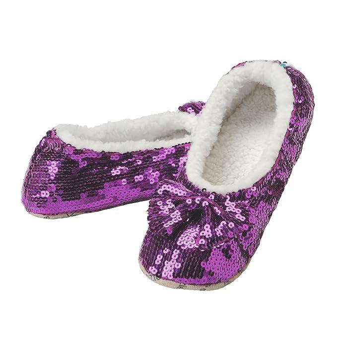 snoozies Ballerina Bling Metallic Shine Womens Cozy Slippers (Medium, Gold)
