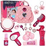 Hodola Girls Pretend Play Beauty Set 14 Pieces Make up Kit Salon Toy Kit Girls Hair Styling Set Toddler Salon Play Set for Li