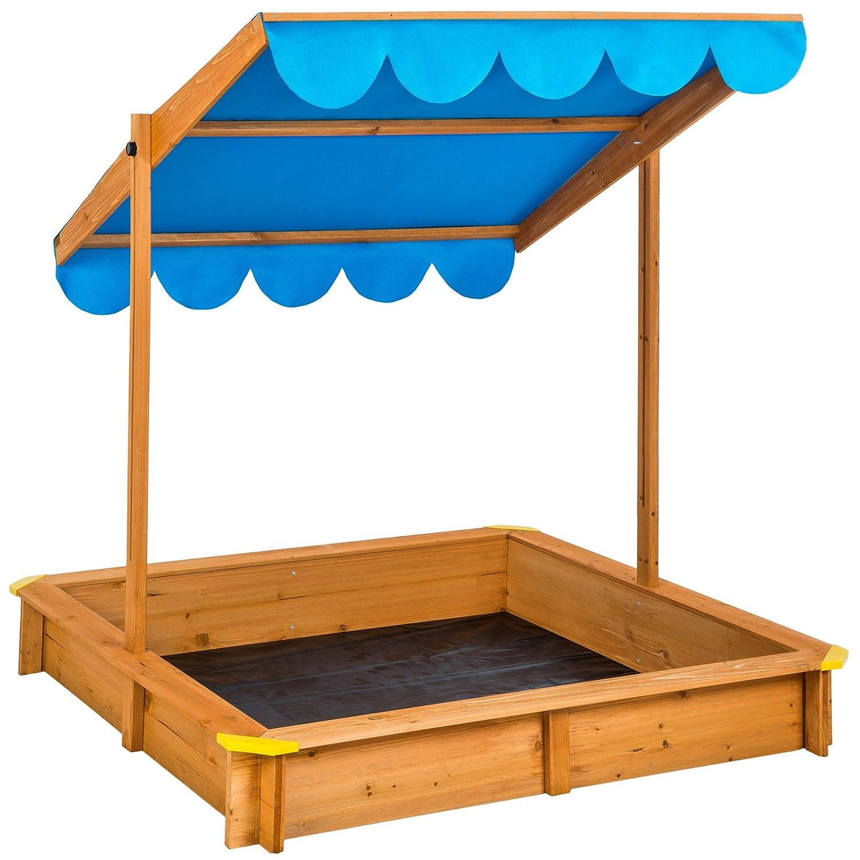 TecTake Sandkasten mit verstellbarem Dach Sitzbänke Spielhaus Holz Sonnendach Bodenplane blau