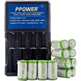Ppower Pbe 12 packs of 700mAh 3.7v Cr123a Li-ion Rechargeable Battery + PPOWER 4 Slots 3.7V Li-ion charger (PI4) + Battery boxes (12X) CE Certified for Arlo Camera, Reolink Argus, Keen, etc