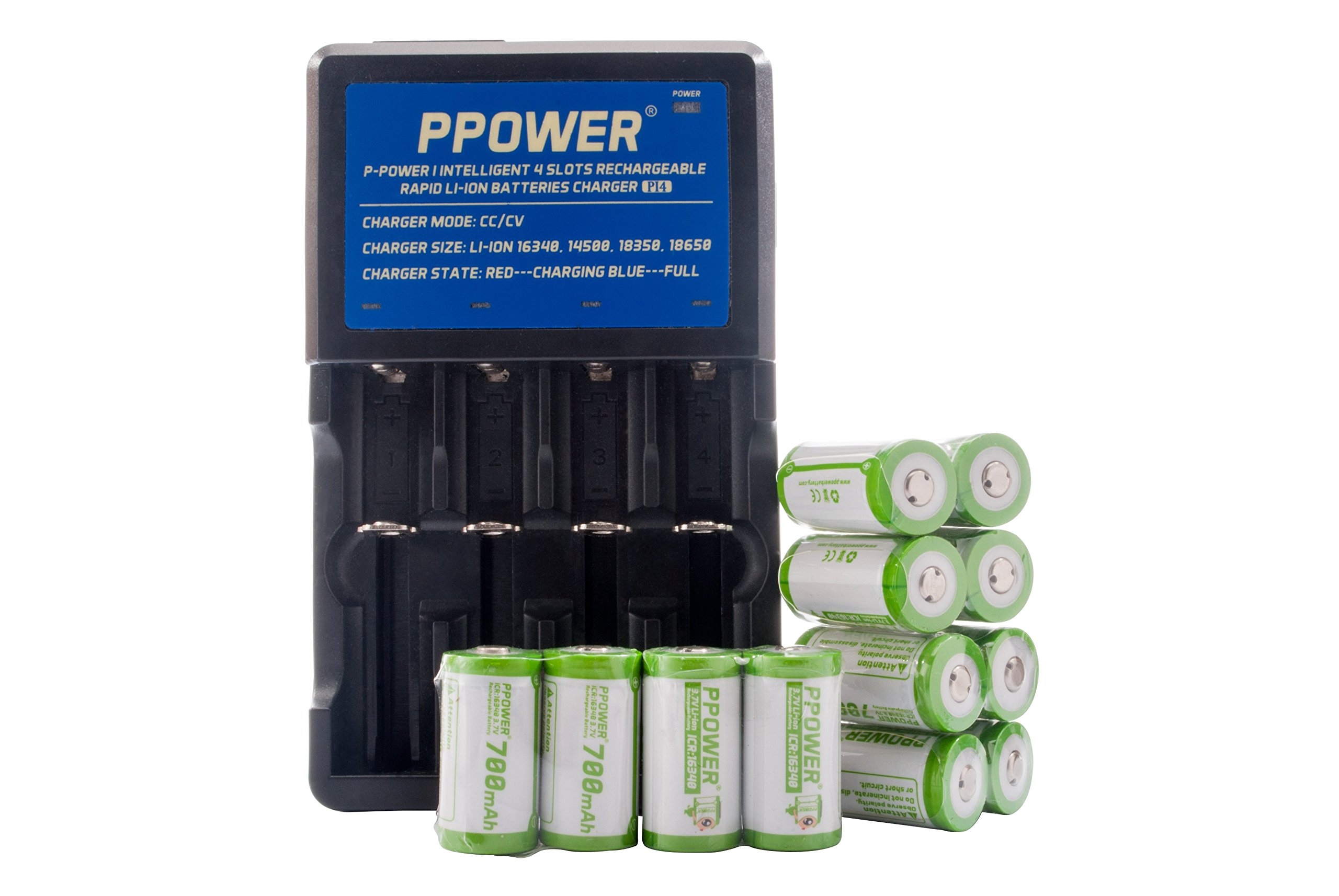 Ppower Pbe 12 packs of 700mAh 3.7v Cr123a Rechargeable Battery + PPOWER 4 Slots 3.7V Li-ion charger (PI4) + Battery boxes (12X) CE Certified for Arlo Camera, Reolink Argus, Keen, etc