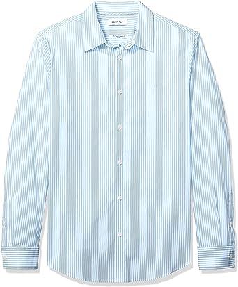 Calvin Klein Stretch Cotton Button Down Shirt Camisa de Vestir, Seafoam Blue, S para Hombre: Amazon.es: Ropa y accesorios