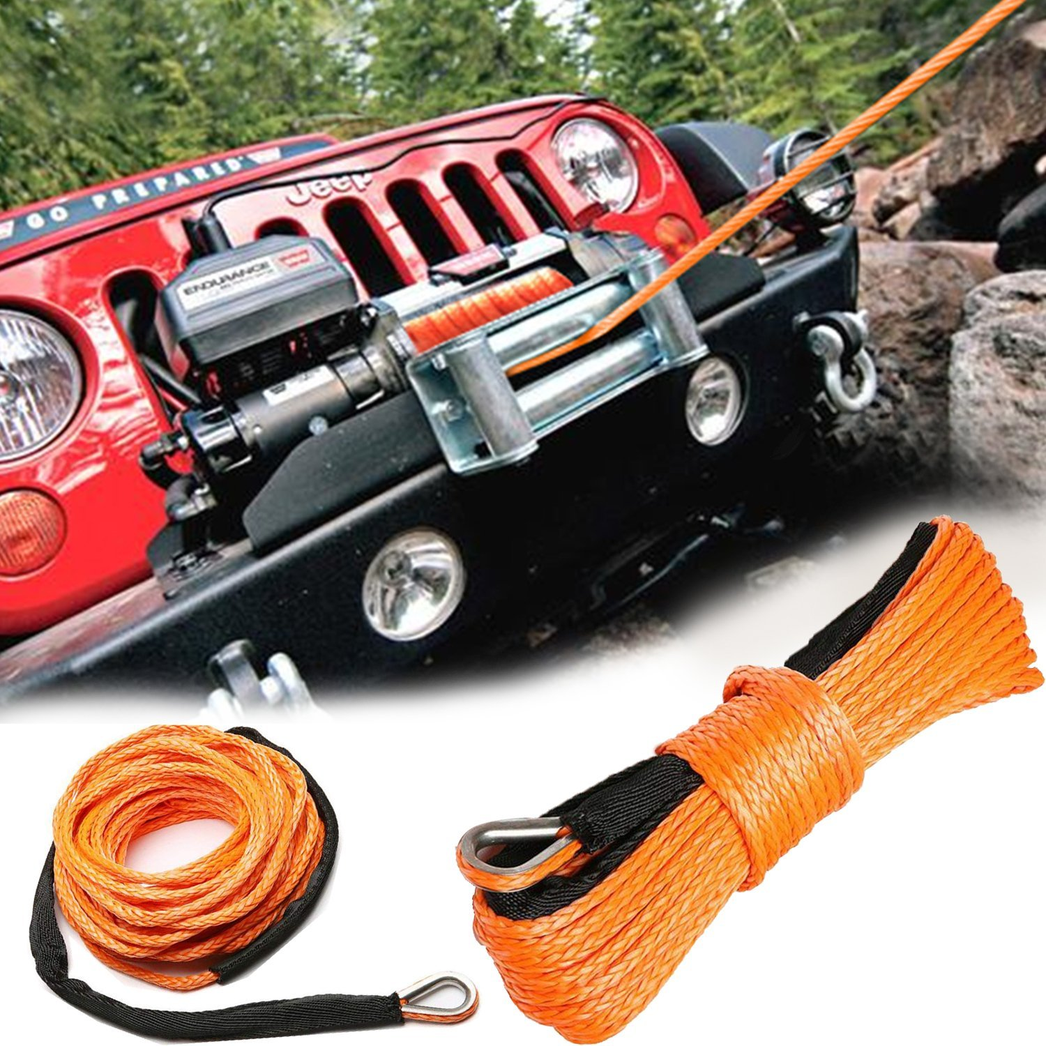 MOEBULB Car Synthetic Winch Rope Kit 5700+LBs 50'x1/4'' Winch Line Cable Sheath Winches ATV UTV SUV Truck Boat Ramsey Stainless Steel Thimble (Orange) by MOEBULB (Image #9)