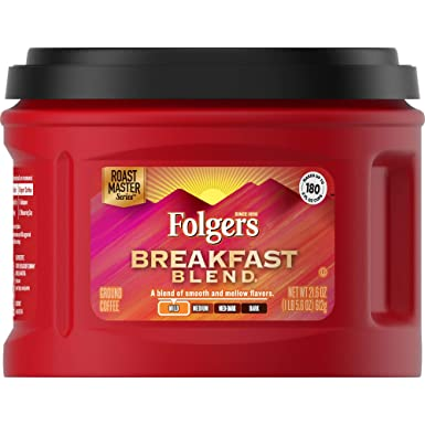 Folgers Ground Coffee Caffeinated, Mild Roast, Breakfast Blend, 3 Count