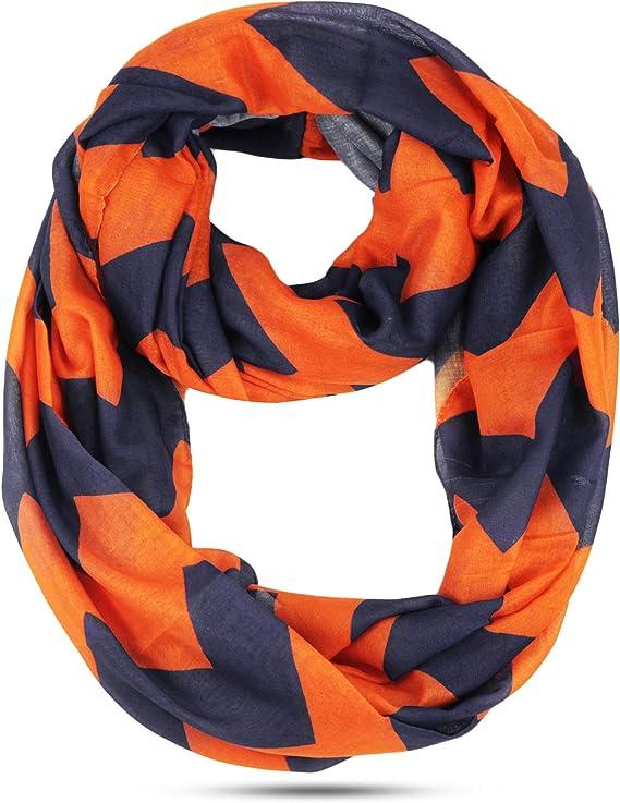 Navy /& Orange Chevron Infinity Scarf