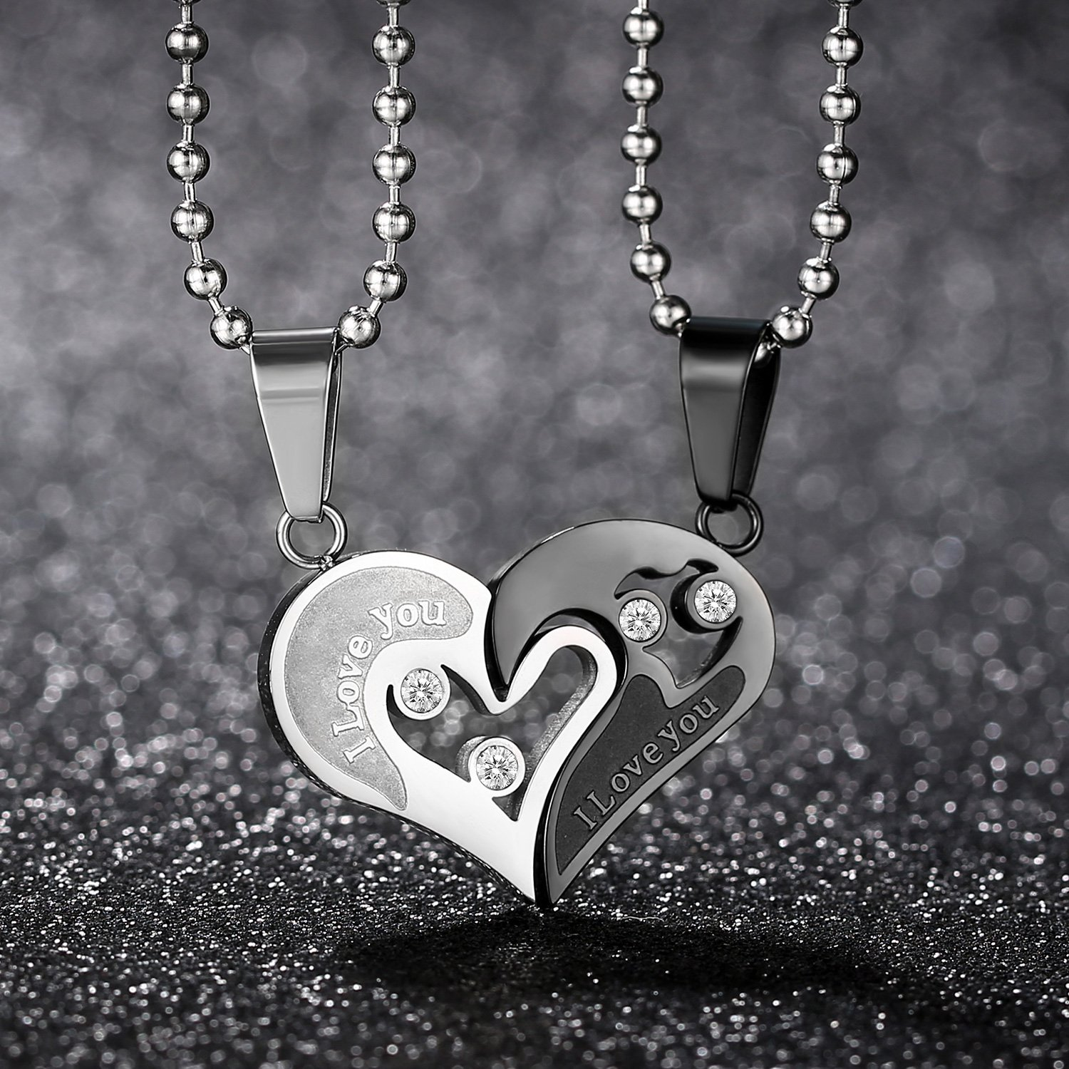 93ac6b2d35 GAGAFEEL His Hers Couple Necklace Stainless Steel Pendant Heart CZ Puzzle  Matching Set I Love You. Yêu thích