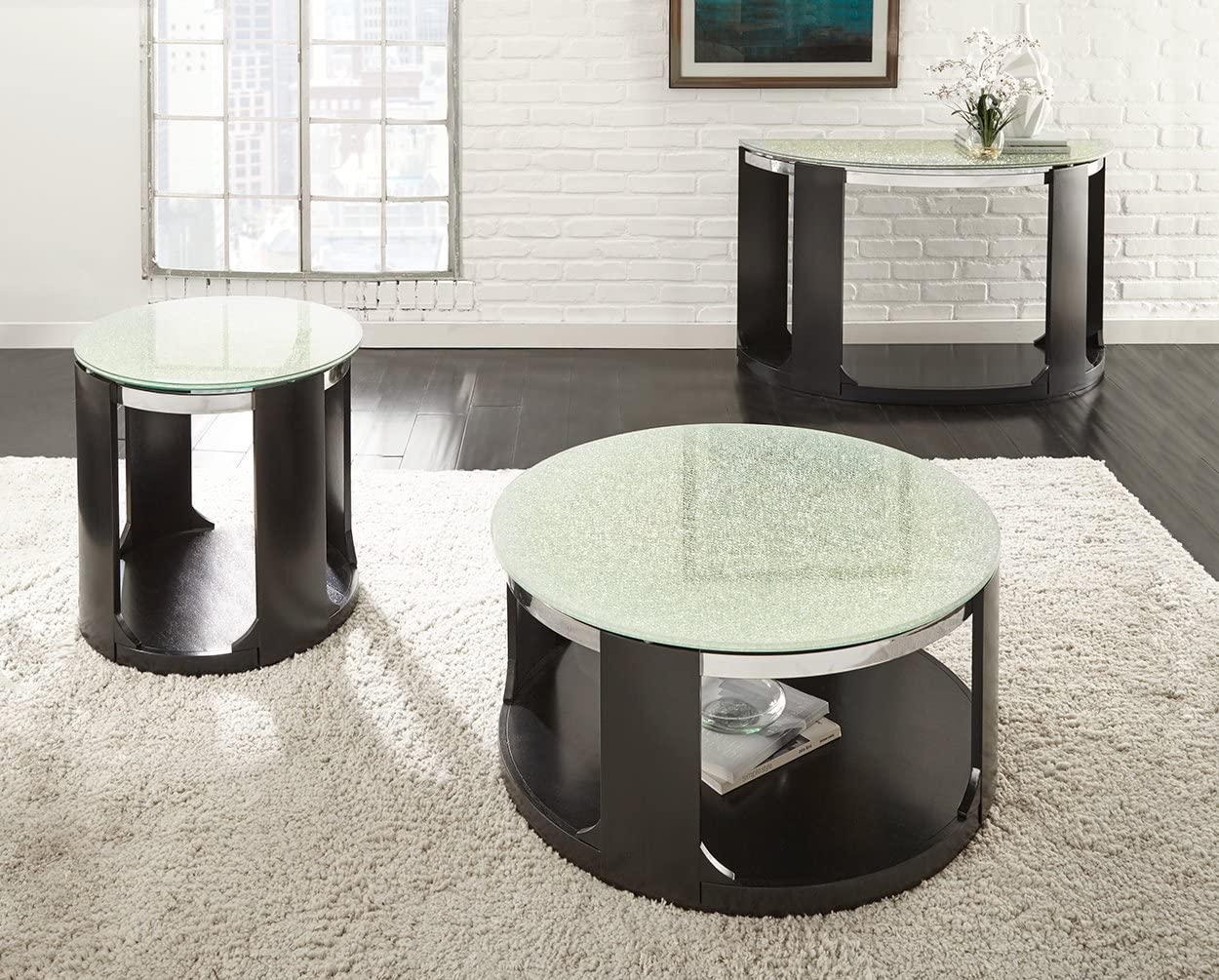 Steve Silver Croften Cracked Glass Top Coffee Table with Casters