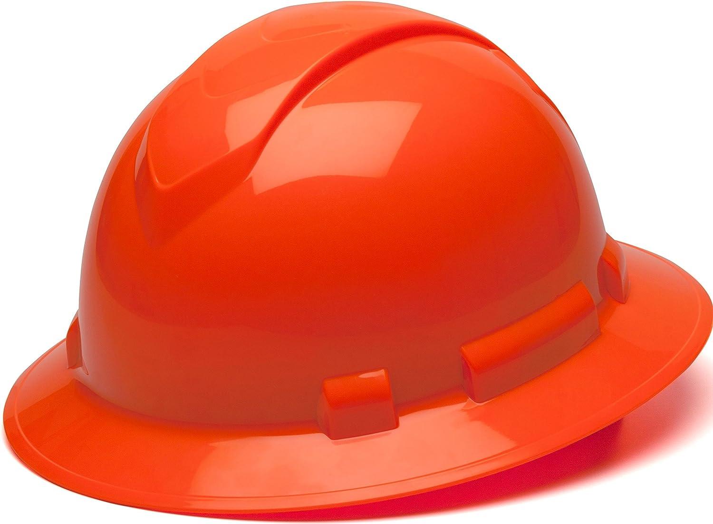 Pyramex Ridgeline Full Brim Hard Hat, 4-Point Ratchet Suspension, Hi-Vis Orange