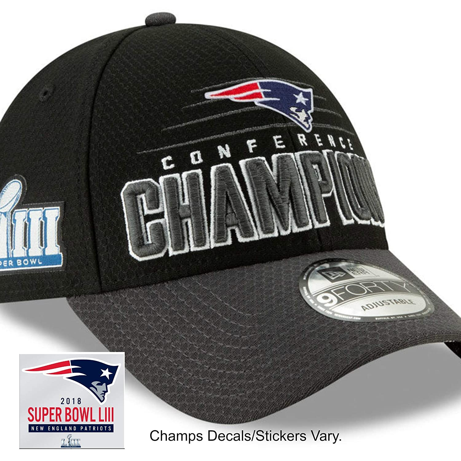 Amazon.com   Official Patriots Men s Super Bowl LIII Conference Champion  Locker Room Hat Cap   Championship Decal Sticker   Sports   Outdoors 8ae910affa41