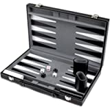 Brybelly Deluxe Backgammon Set with Stitched Black Leatherette Case, 15-Inch