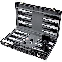 Brybelly Deluxe–Carcasa rígida de Backgammon Set con Cosido Negro Polipiel