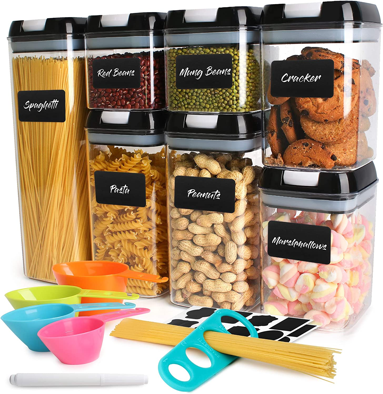 ZiGoRo Airtight Kitchen Food Storage Container Set with Lids - Pantry Kitchen Organizer Containers- Perfect as Cereal, Flour or Sugar Containers with Labels, Marker, Measuring Spoons & Spaghetti Gauge