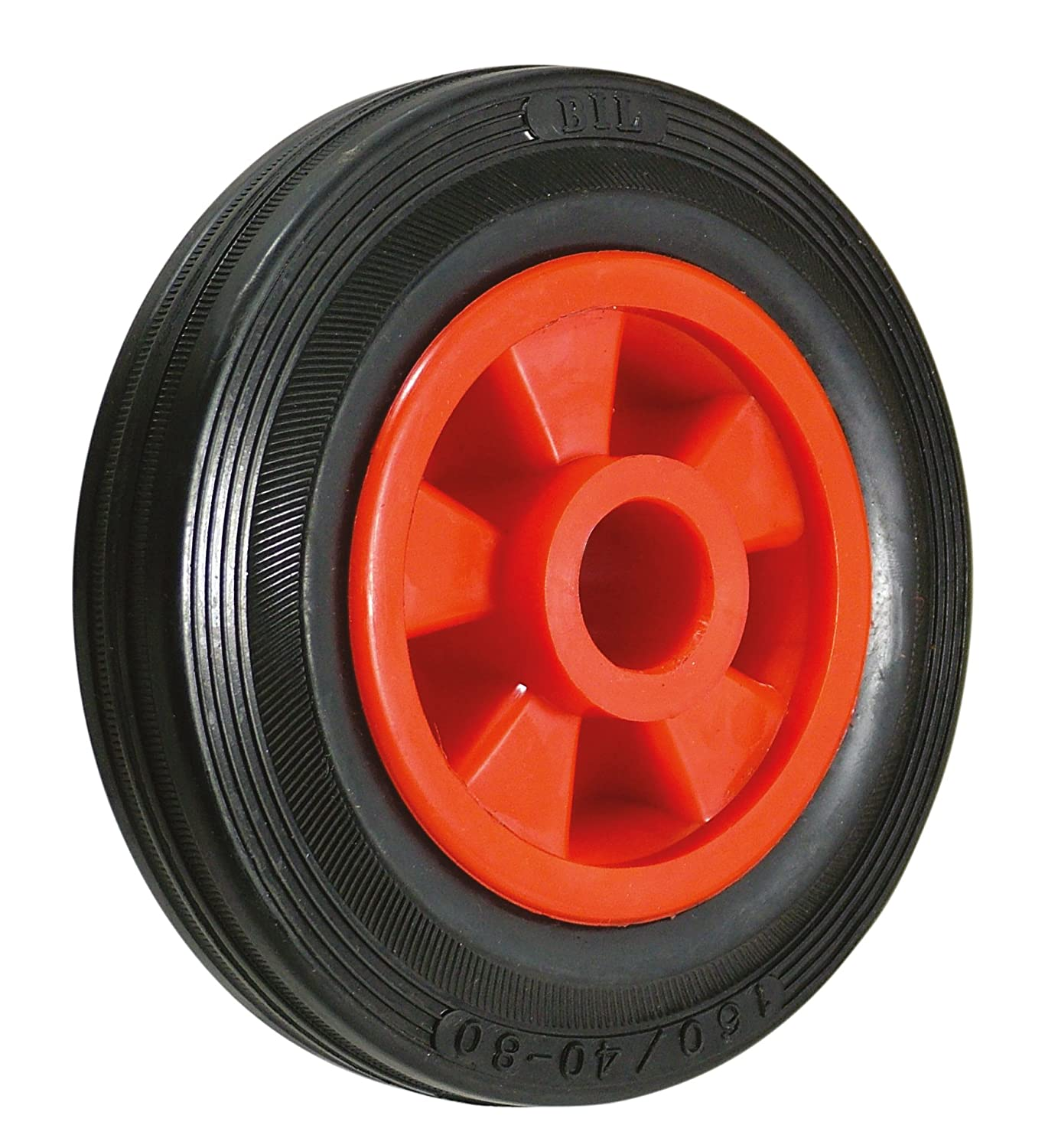 BIL BZWPKR25025451 Series WPK Wheel, Rubber On Polypropylene, 250 mm Diameter, 60 mm Tread, 51 mm Hub, 25.4 mm Bore, 275 kg Load, Black BIL Group Ltd