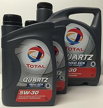 Aceite de motor TOTAL QUARTZ INEO ECS 5W30 6 litros (1x4 lts + 2x1 lt