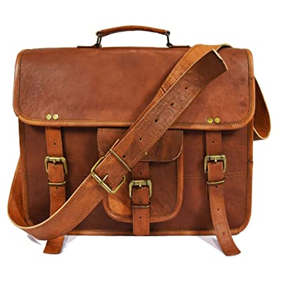 d4da5776f64d 15 Inch Leather Vintage Crossbody Messenger Satchel Bag By Aaron Leather