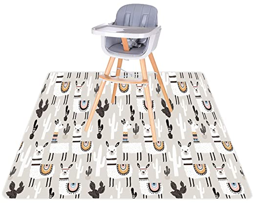 """Vinyl and Carpet from Spills BABYBOET Splat Mat for Baby 51/"""" x 51/"""" Under High Chair Floor Mat Protects Wood Waterproof Triple Layer Baby Mat with Anti-Skid Backing Deters Bunching and Sliding"""