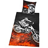 Herding 4859214050 Parure de Lit avec Imprimé Motocross en Microfibre Multicolore 135 x 200 cm