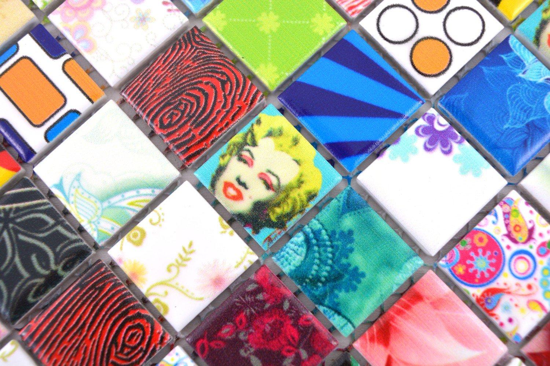 Pop Up R/étro Vintage Marily Monroe mosa/ïque pour carrelage c/éramique mehrfarben Multicolore Star pour rev/êtement miroir mural de salle de bain wc douche Cuisine Carreaux Rev/êtement theken baignoires wb18d de 1605