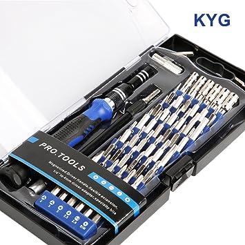 KYG 60 en 1 Destornilladores precisión S2 - Kit de herramientas profesional con 56 puntas magnética para todos tornillos juegos de destornilladores ...